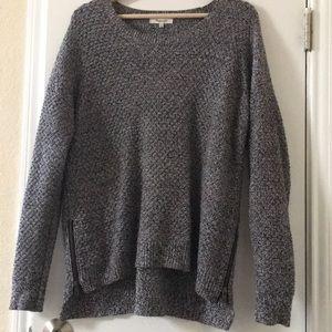 Madewell Oversized Side Zip Sweater Black White